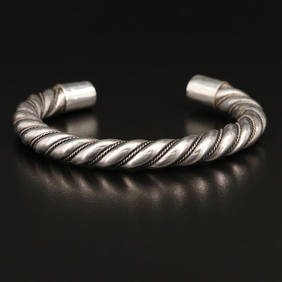 Sterling Silver Cuff with Twisted Rope Detail