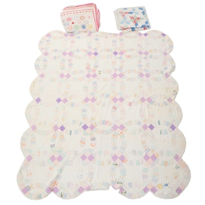 """Handmade """"Honeycomb"""", """"Hexagon Star"""", and """"Double Wedding Ring"""" Pieced Quilts"""