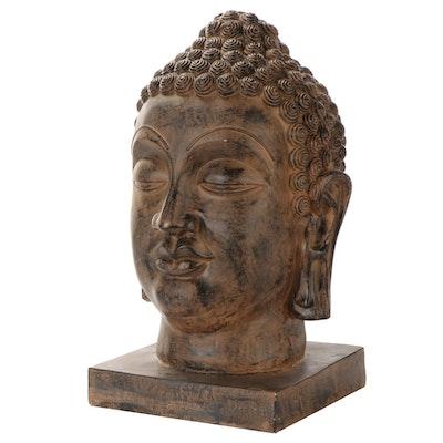 Thai Style Patinated Cast Plaster Gautama Buddha Head