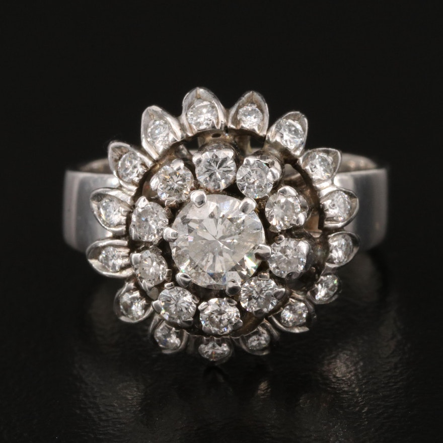 Sterling 1.32 CTW Diamond Floral Ring