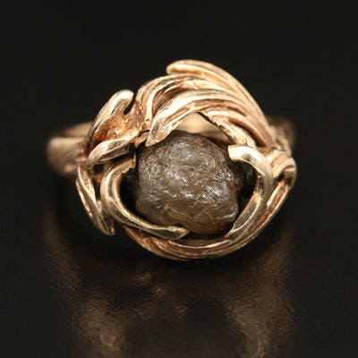 14K Rough Diamond Ring with Foliate Design