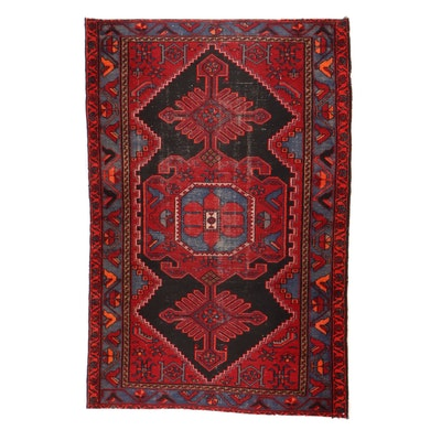 4'1 x 6'2 Hand-Knotted Persian Zanjan Rug, 1920s