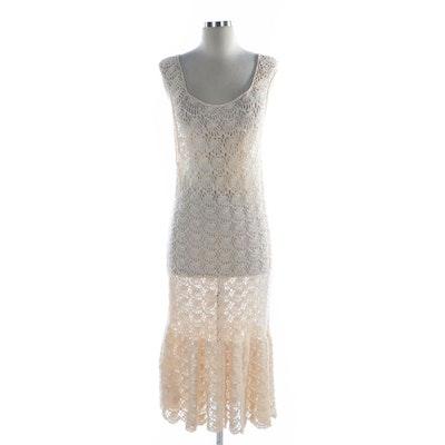 International Apparel Mart Scalloped Cotton Crochet Sleeveless Midi Dress