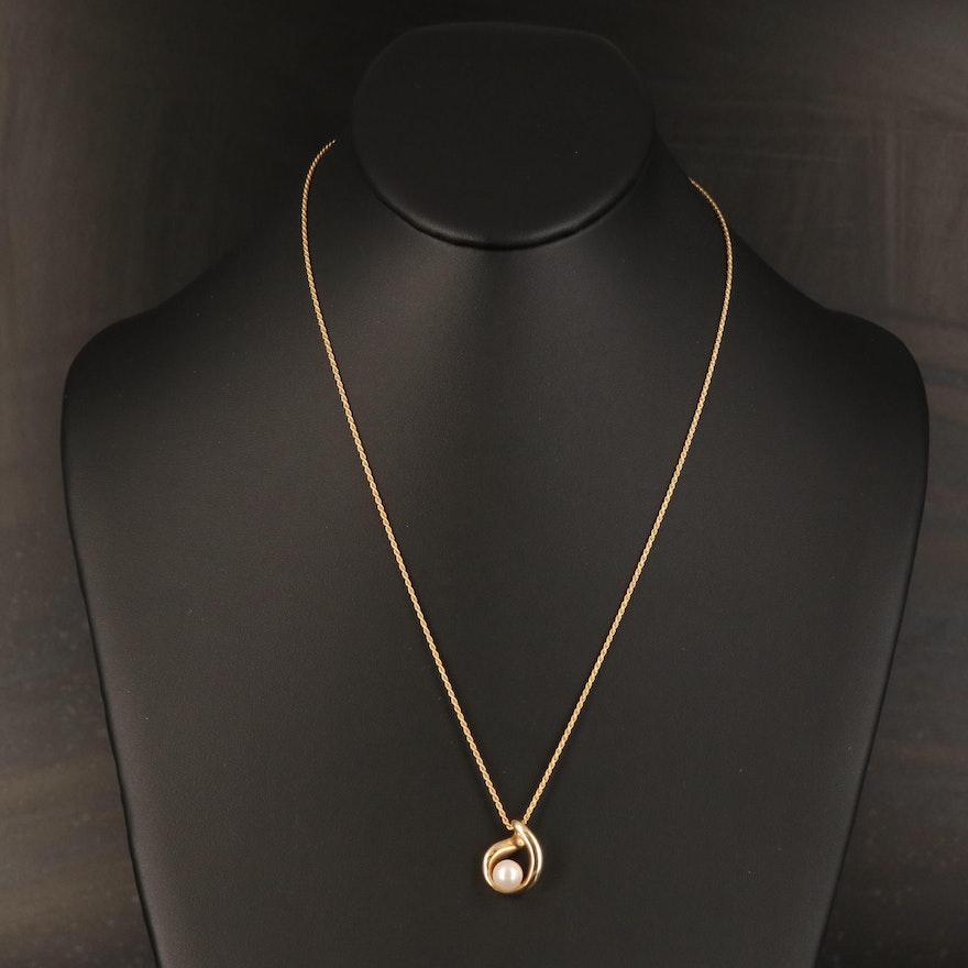 14K Pearl Pendant Necklace