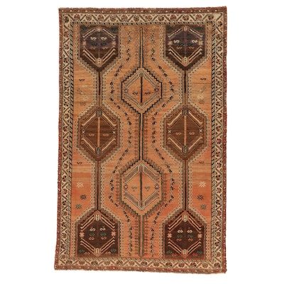 4'11 x 7'9 Hand-Knotted Persian Shiraz Rug, 1970s