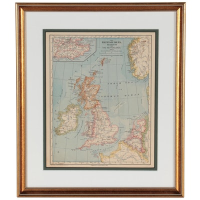 """Wax Engraving Map """"The British Isles, Belgium and the Netherlands,"""" 1883"""