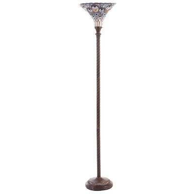 Tiffany Style Patinated Metal and Stained Glass Torchiere