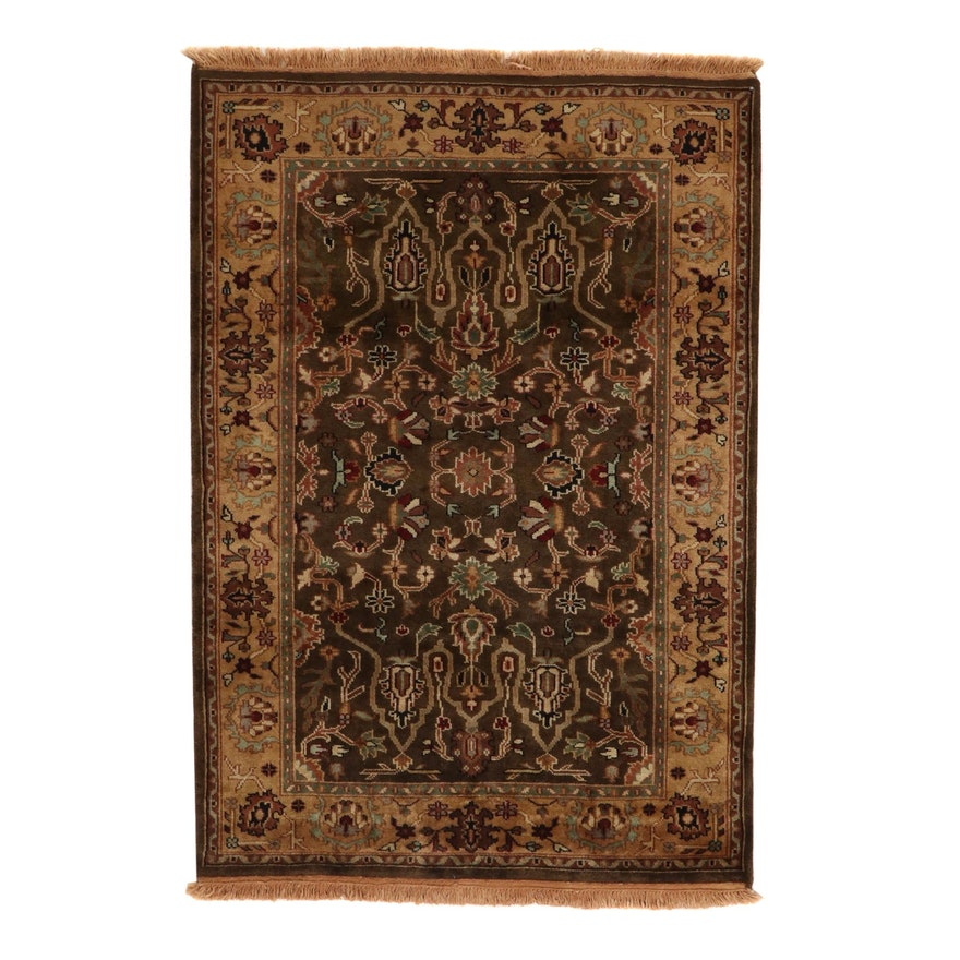 4' x 6'1 Hand-Knotted Indo-Turkish Oushak Rug, 2010s