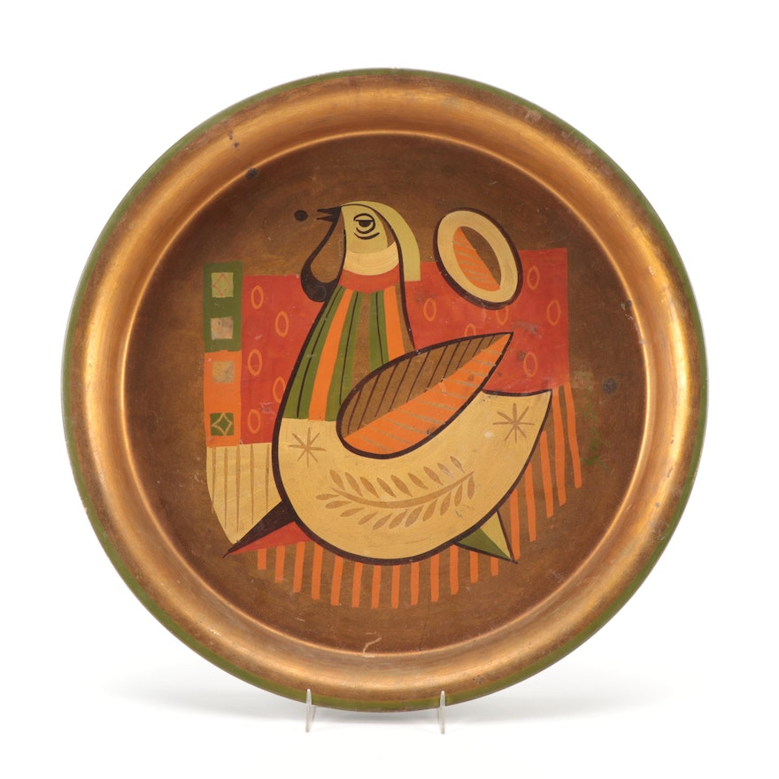 Georges Briard Hand-Painted Rooster Themed Metal Serving Tray, Mid-20th Century