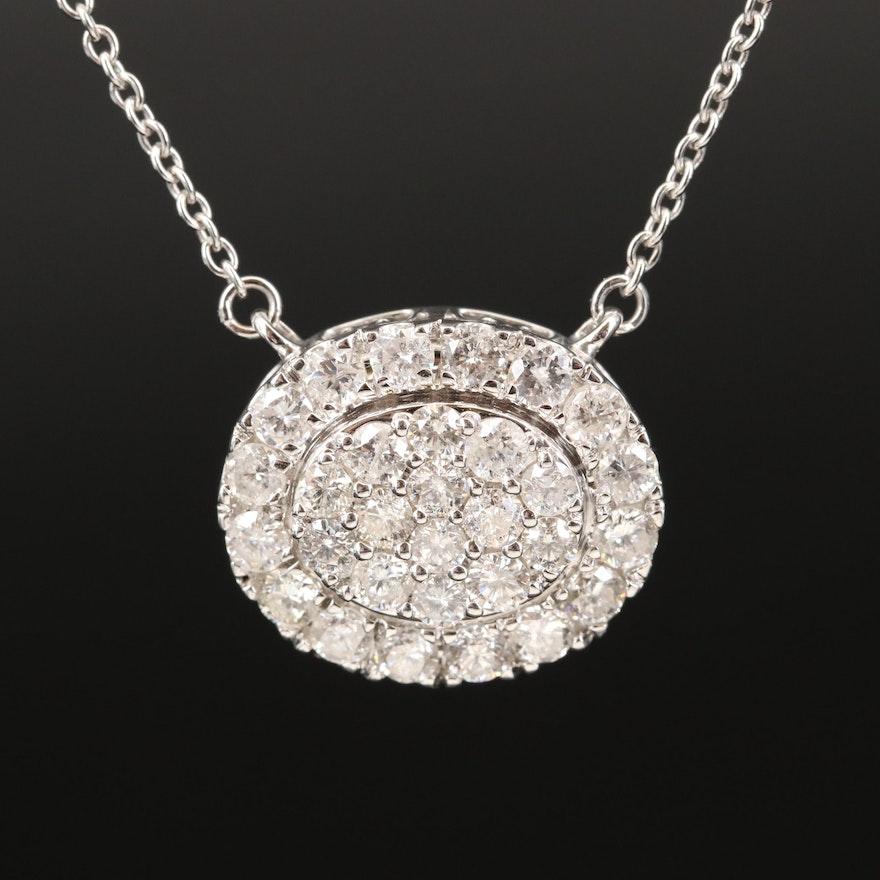 14K 2.05 CTW Diamond Cluster Necklace