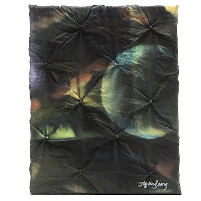 "Stefan Georg Mixed Media Painting ""Dark Iris,"" 2021"
