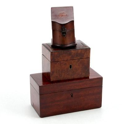 English Mahogany Stationary Boxes and Burled Walnut Coin Box, 19th Century