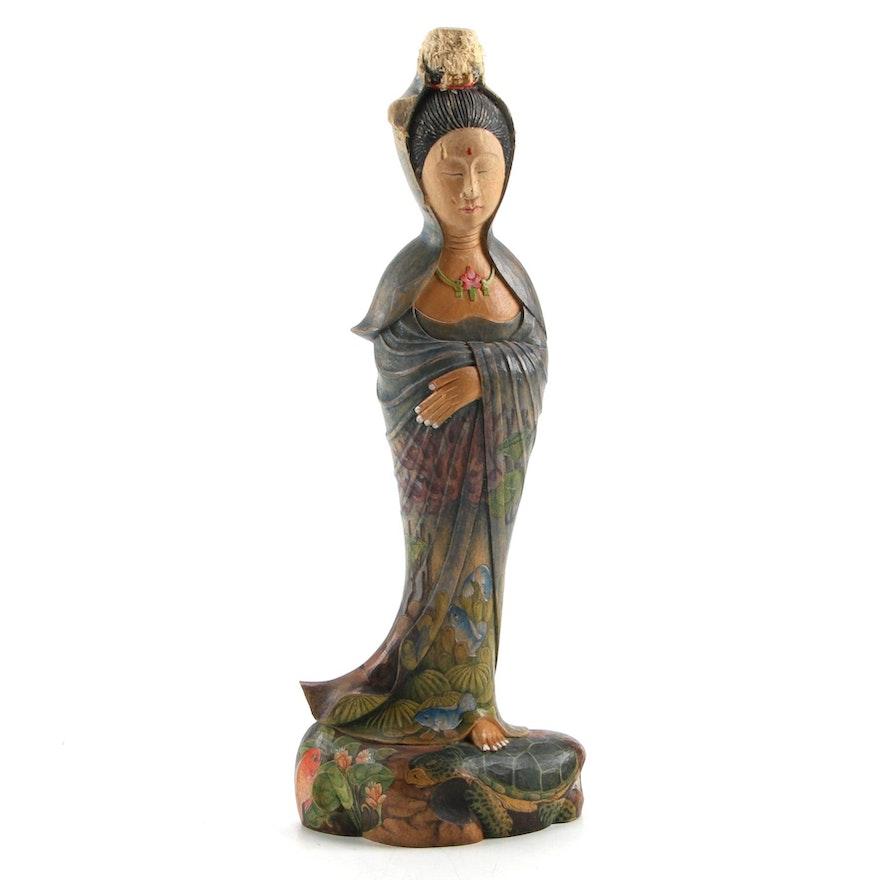 Wayan Tesa Balinese Hand-Painted Carved Wood Figurine of Woman