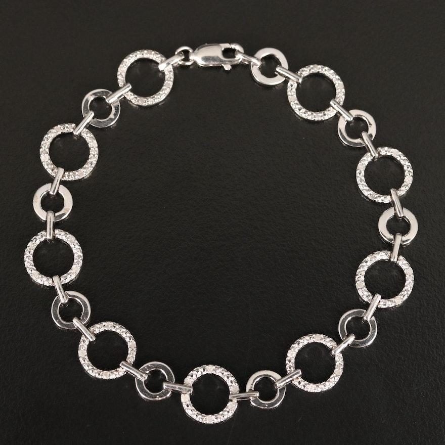 Sterling Diamond Circle Link Bracelet