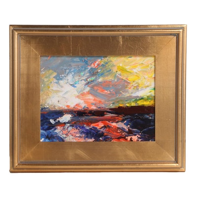 """Claire McElveen Abstract Acrylic Painting """"Ocean Gold,"""" 2021"""