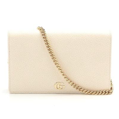 Gucci GG Marmont Mini Chain Bag in Off-White Grained Leather