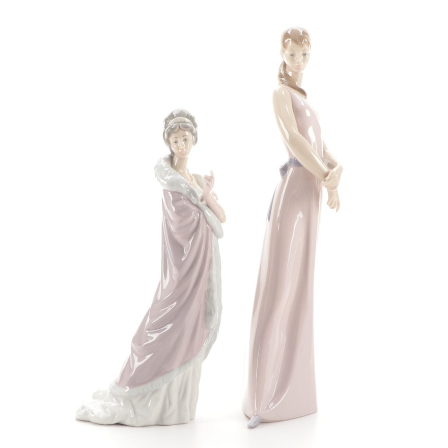 """Lladró  """"Lady Of The Rose"""" and Lady with Parasol Porcelain Figurines"""