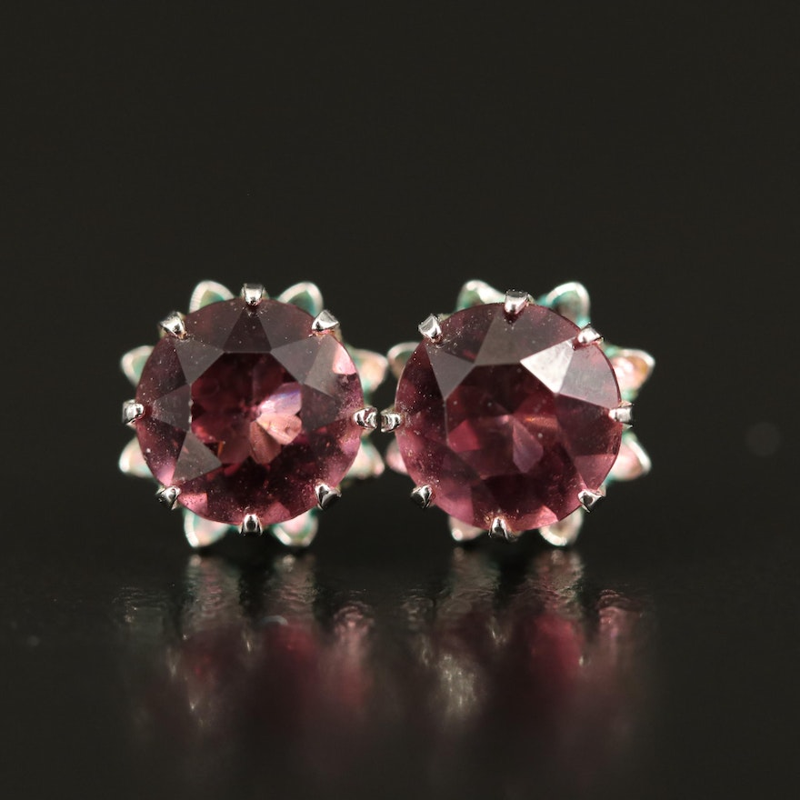 Red Glass Stud Earrings with 10K Posts