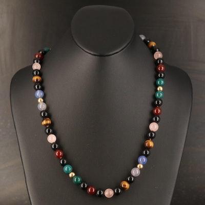 14K Rose Quartz, Tiger's Eye, Black Onyx and Chalcedony Beaded Necklace