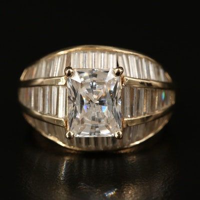 14K Cubic Zirconia Tapered Ring