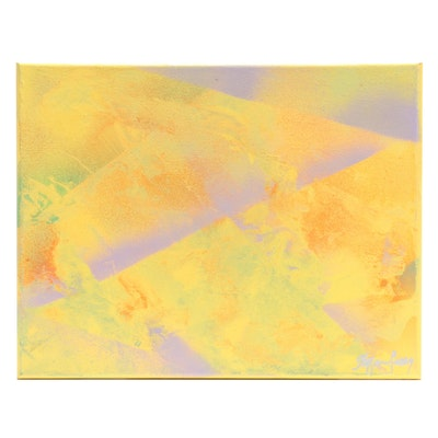 """Stefan Georg Abstract Acrylic Painting """"Royal Yellow,"""" 2021"""