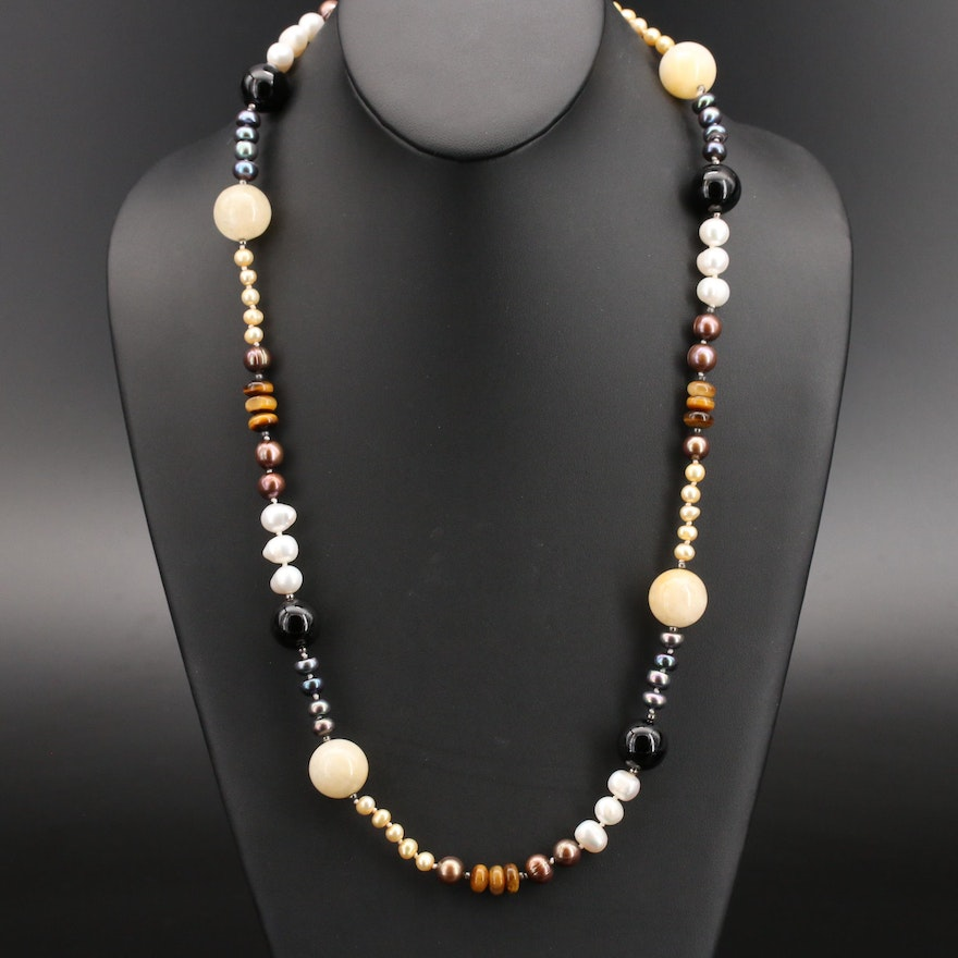Tiger's Eye and Gemstone Beaded Necklace