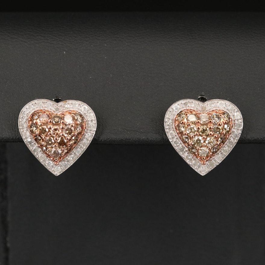 10K 1.73 CTW Diamond Heart Earrings