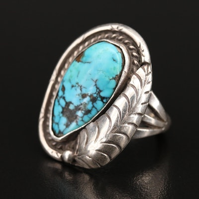 Southwestern Sterling Turquoise Ring with Feather Accent