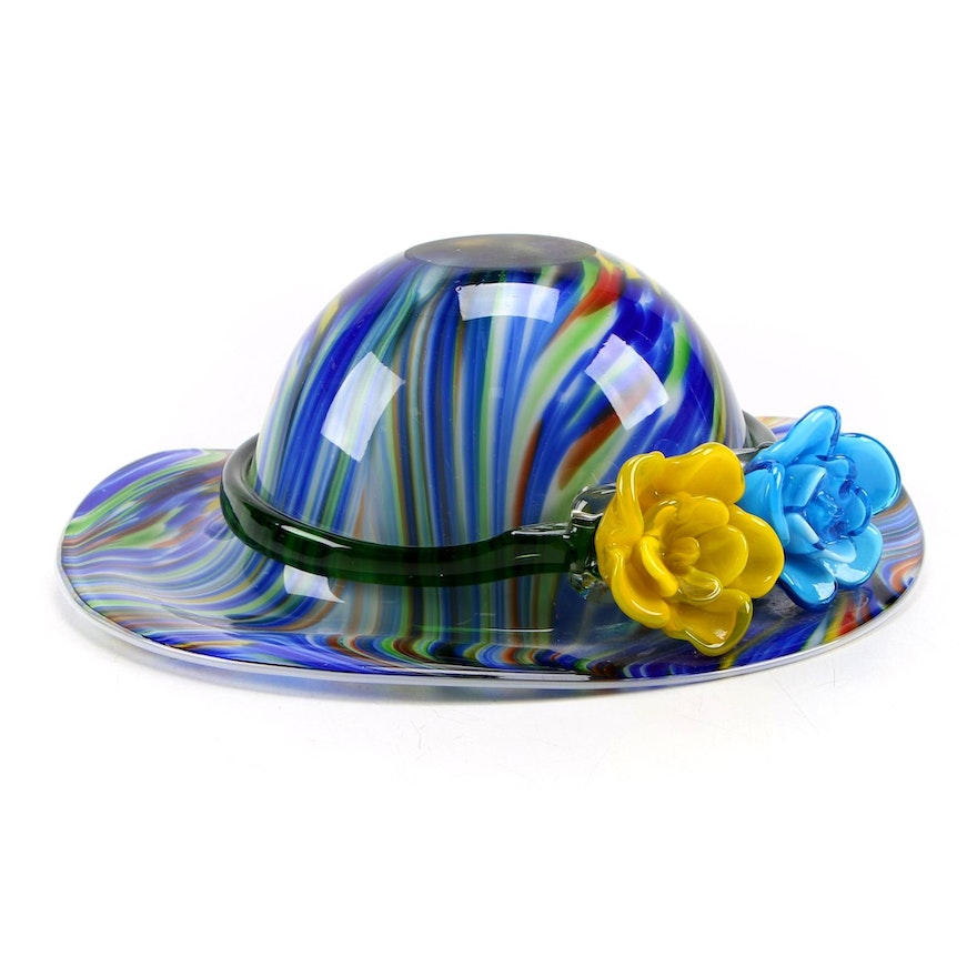 Murano Style Inverted Ladies Hat with Applied Flowers Art Glass Bowl