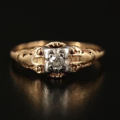 1930s 14K and Palladium Diamond Ring