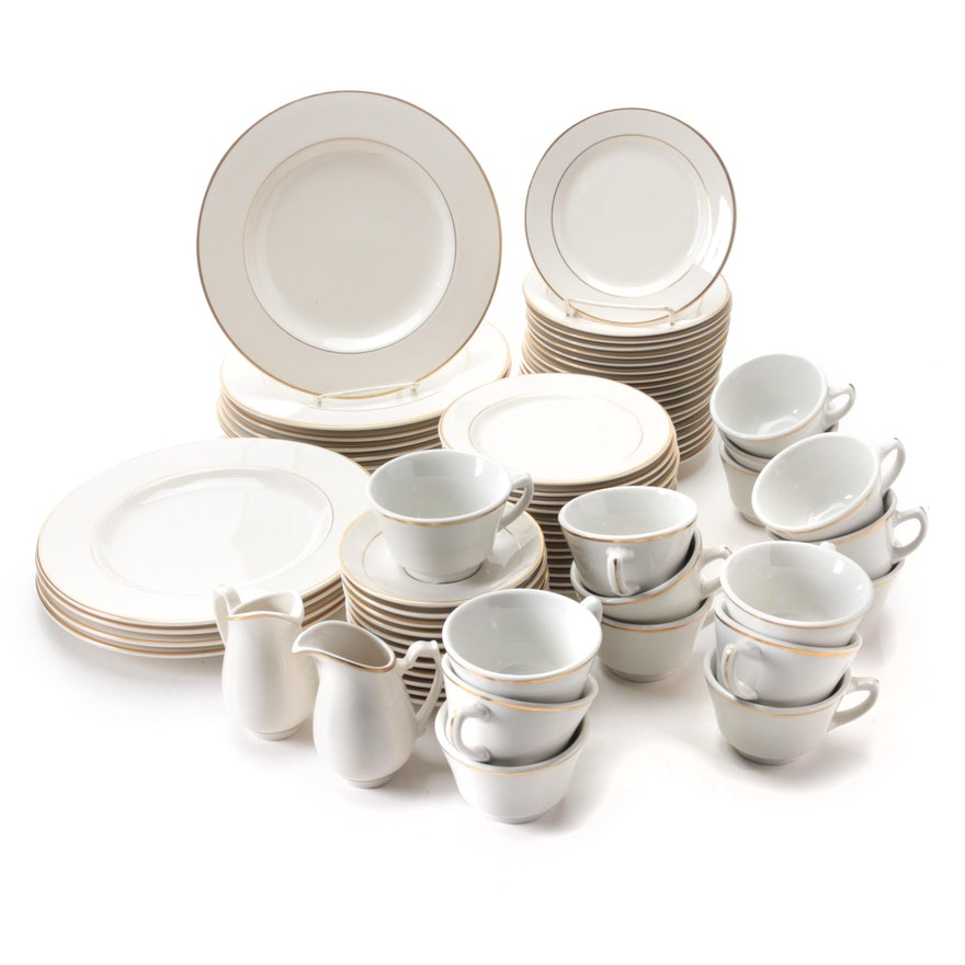 Homer Laughlin and Shenango Gilt Accented Dinnerware and Creamers