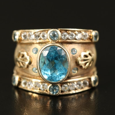 Etruscan Style Sterling Silver Topaz Ring