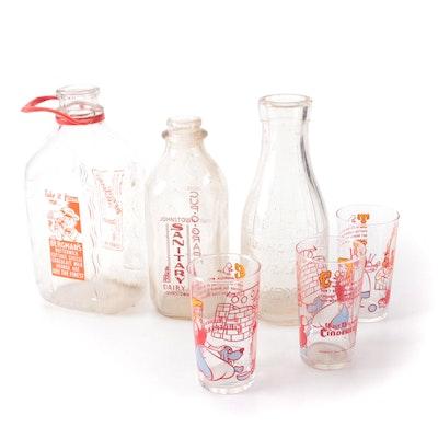 "Walt Disney's ""Cinderella"" Promotional Drinking Glasses with Milk Bottles, 1950s"