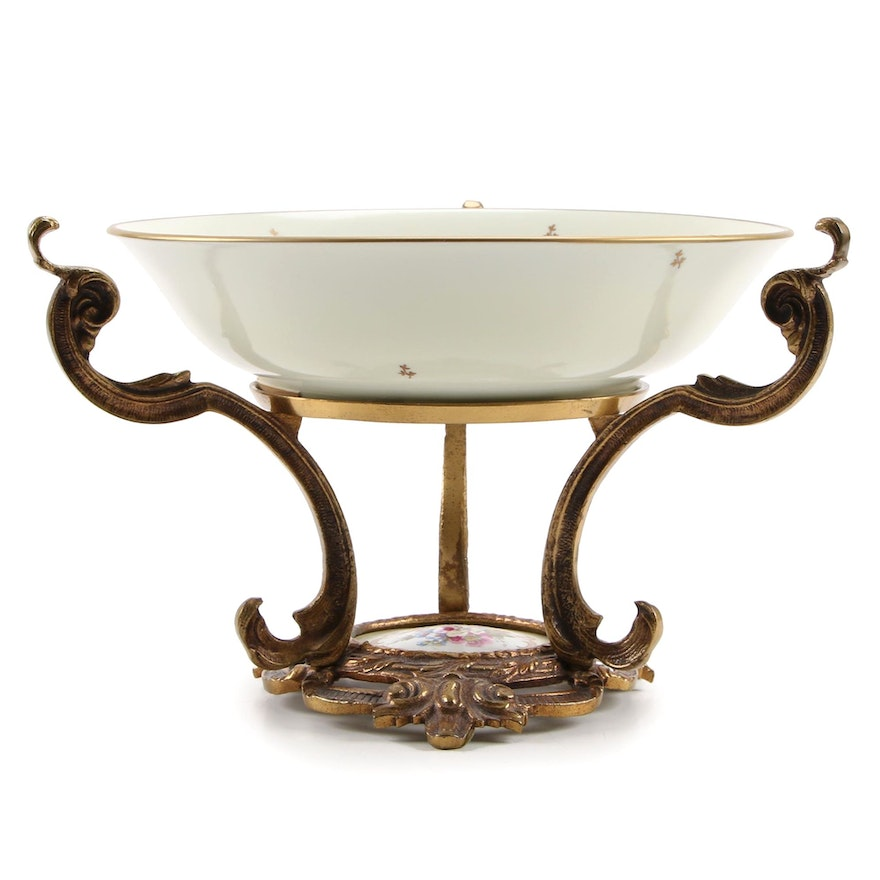 French Porcelain Bowl in Gilt Bronze Stand, Mid-20th Century
