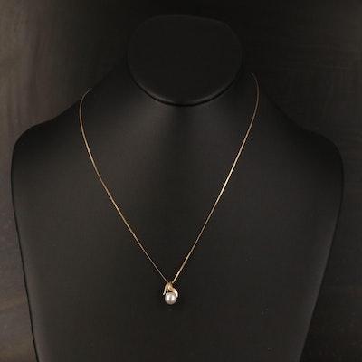 14K Pearl Solitaire Pendant Necklace