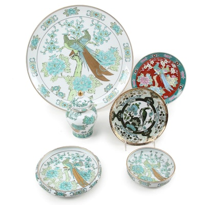 Gold Imari Hand-Painted Porcelain with Other Japanese Porcelain