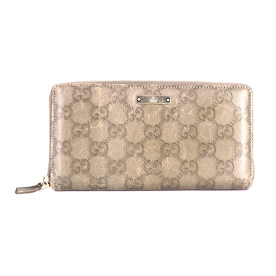 Gucci Guccissima Leather Zip Wallet in Taupe