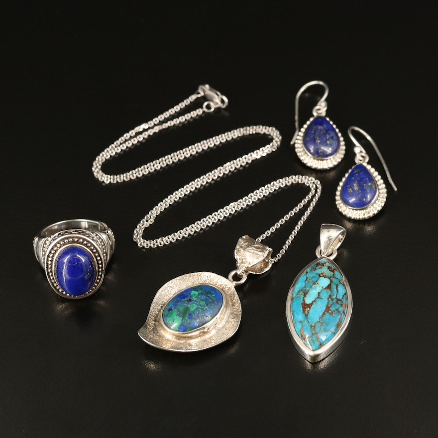 Sterling Silver Jewelry with Turquoise and Malachite