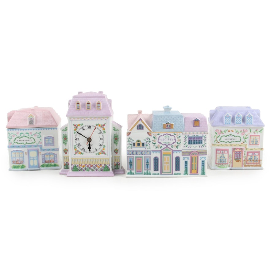 Lenox Village Porcelain Nut and Candy Shoppe Canisters with Clock and Recipe Box