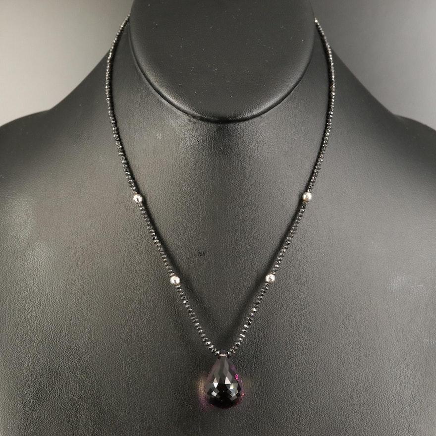 14K Ametrine and Black Diamond Beaded Necklace