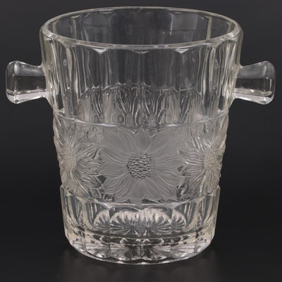 Pressed Glass Floral Band Glass Ice Bucket, Early to Mid 20th Century