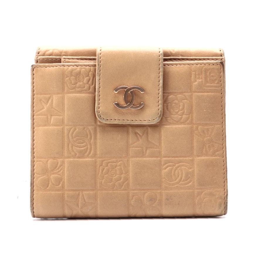 Chanel Icon Bifold Wallet in Embossed Tan Lambskin Leather