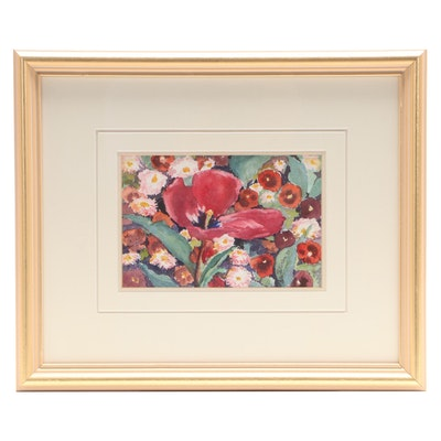 """Isla Patterson Watercolor Painting """"Open Tulip,"""" 1997"""