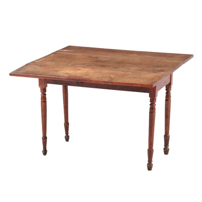 American Primitive Walnut Drop-Leaf Table, 19th Century