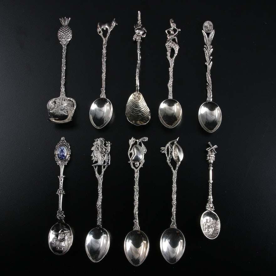 European Sterling Silver, 900 Silver, and Demitasse Other Spoons