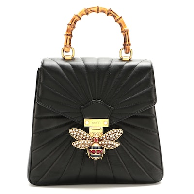 Gucci Quilted Queen Margaret Bamboo Backpack Purse in Black Calfskin Leather