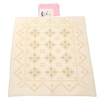 """Handmade Cross Stitch and """"Bonnet Girl"""" Quilts, Mid-20th Century"""