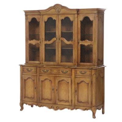 W.A. Bratburd French Provincial Style Hardwood China Cabinet, Mid-20th Century