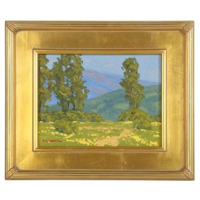 """Marc Graison Landscape Oil Painting """"Quiet Hills,"""" 2021"""