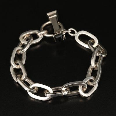 Sterling Silver Black Onyx Cable Link Bracelet